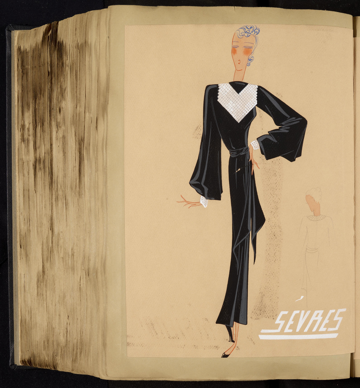"""Robe du soir """"Sèvres"""", 1934-1935. Illustration originale à la gouache, extraite de l'album Collection 1934-1935, réalisée dans les ateliers Lanvin."""