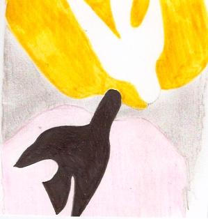 """inspiré de l'huile sur toile """"L'oiseau noir et l'oiseau blanc"""" de Georges Braque (1960)."""