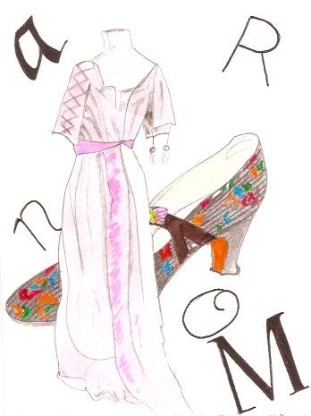 inspiré de la robe du soir rose poudré exposée à Carnavalet