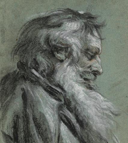 """François Boucher, """"Tête de vieillard vue de profil"""", Bibliothèque municipale de Rouen, © Th. Ascencio-Parvy, P. Ganaye, Bibliothèque municipale de Rouen"""