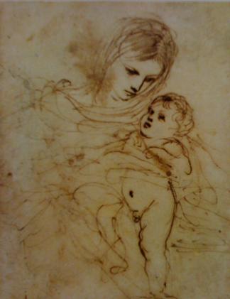 """Guerchin, dit le Francesco Barbieri, """"Vierge à l'enfant"""", Plume et encre brune, 16 x 12,5 cm, © Musées des Beaux-Arts d'Angers"""