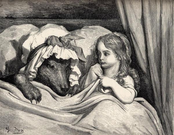 """Gustave Doré, """"Le Petit Chaperon rouge dans le lit de sa grand-mère avec le loup. Extrait des contes de Charles Perrault. Préface de P.-J. Stahl, Hetzel, 1862, Bilbiothèque de Bourg-en-Bress"""