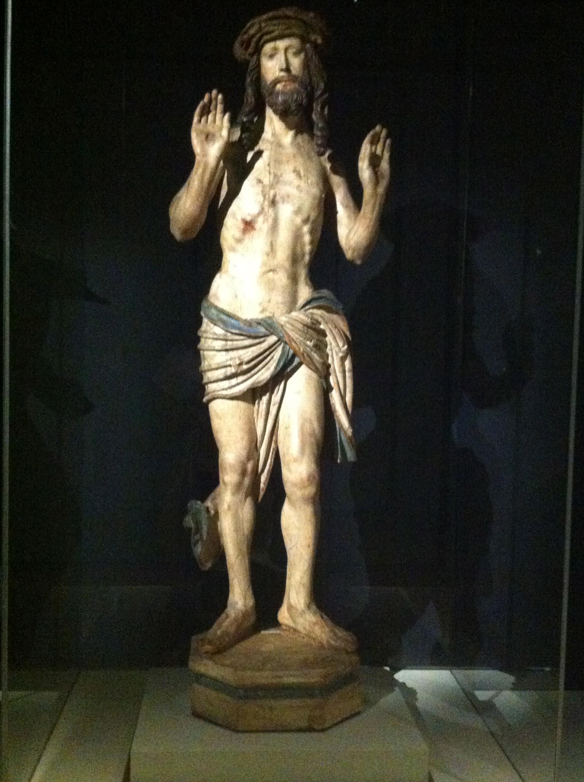 """Aucune censure, la preuve avec ce """"Christ montrant ses plaies"""", Allemagne, Bavière ou Autriche, vers 1515-1520, Bois de tilleul, polychromie"""