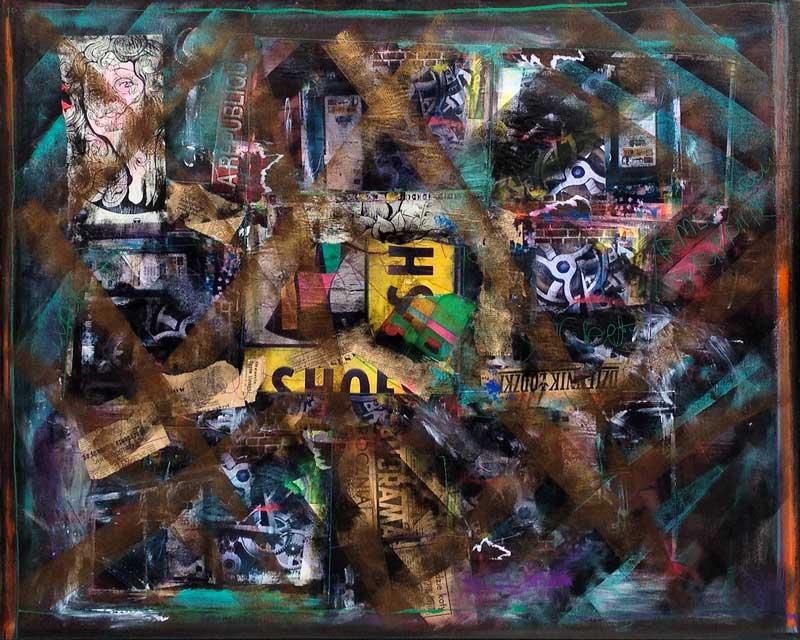 Sous-sol, acrylique et collage sur toile, 100 cm x 80 cm
