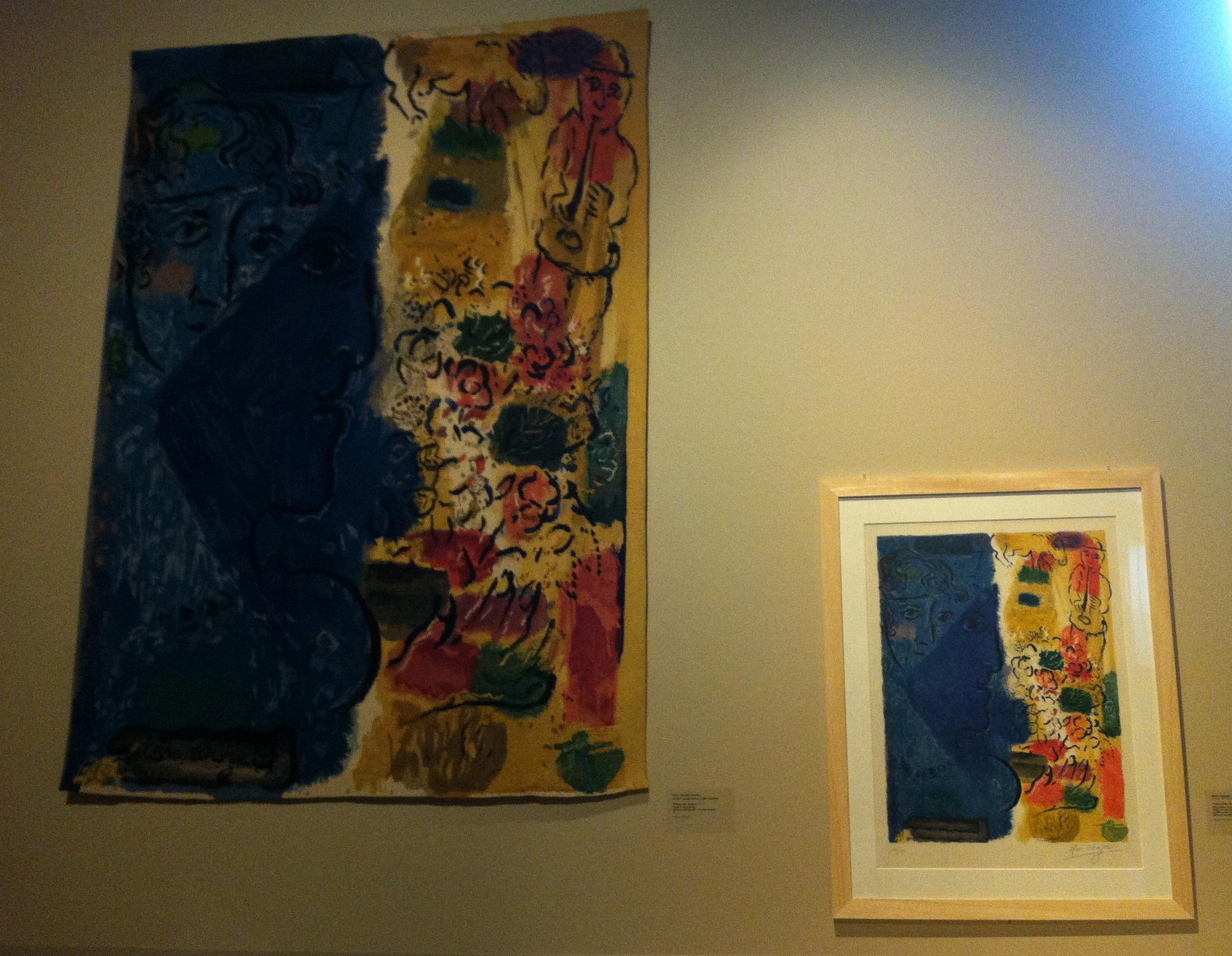 L'un des points forts de l'exposition consiste à confronter l'original de Chagal avec sa reproduction tissée