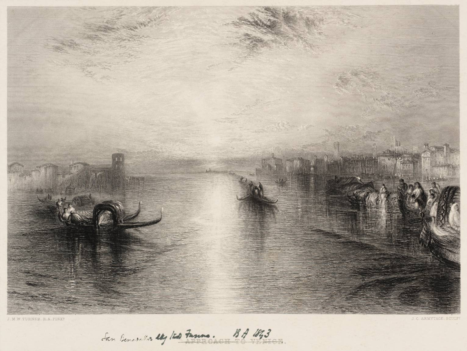 Approach to Venice, engraved by Armytage published 1859-61 by Joseph Mallord William Turner 1775-1851