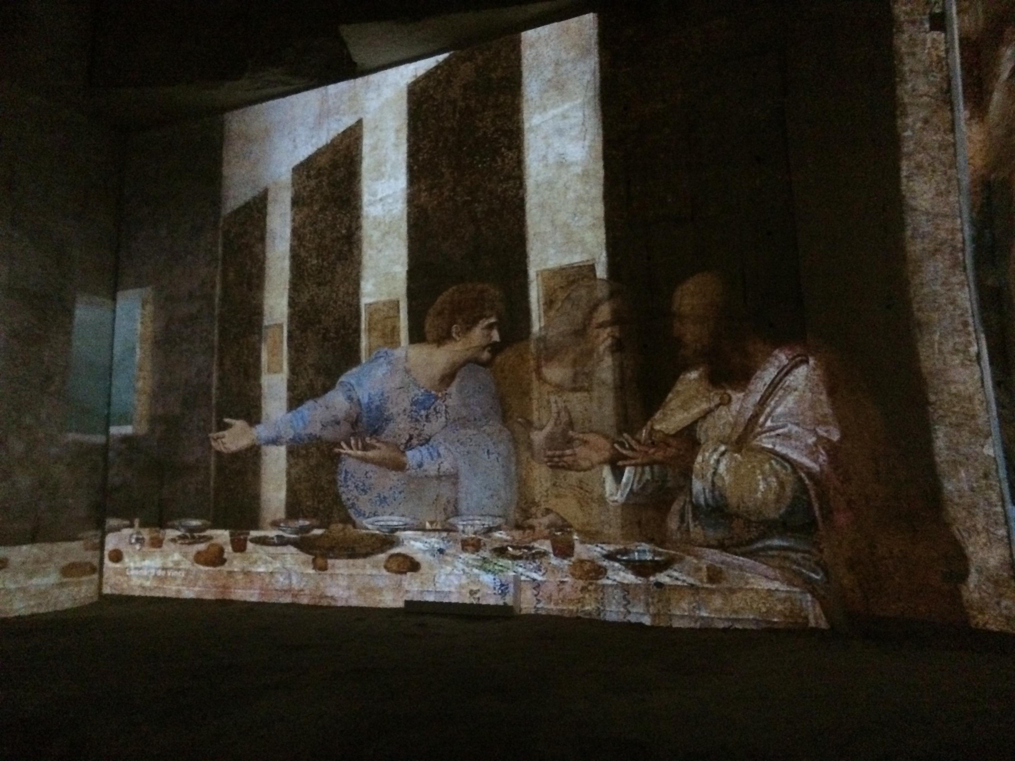 Le tableau de Léonard de Vinci représente Jésus entouré de ses douze apôtres, le jeudi saint, veille de la crucifixion.  Ici, il s'agit de Matthieu, à droite.