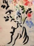 Marc Chagall, Profil au bouquet,  1958