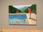 This painting know s two versions. Hockney decided to water down the disproportionate curves of the swimming body.